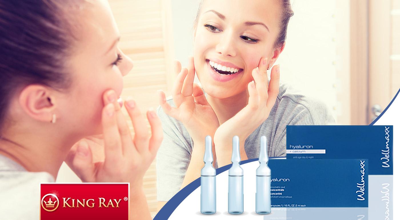 Kozmetika s kyselinou hyalurónovou - enzýmový peeling alebo koncentrát s vápnikom v ampulkách