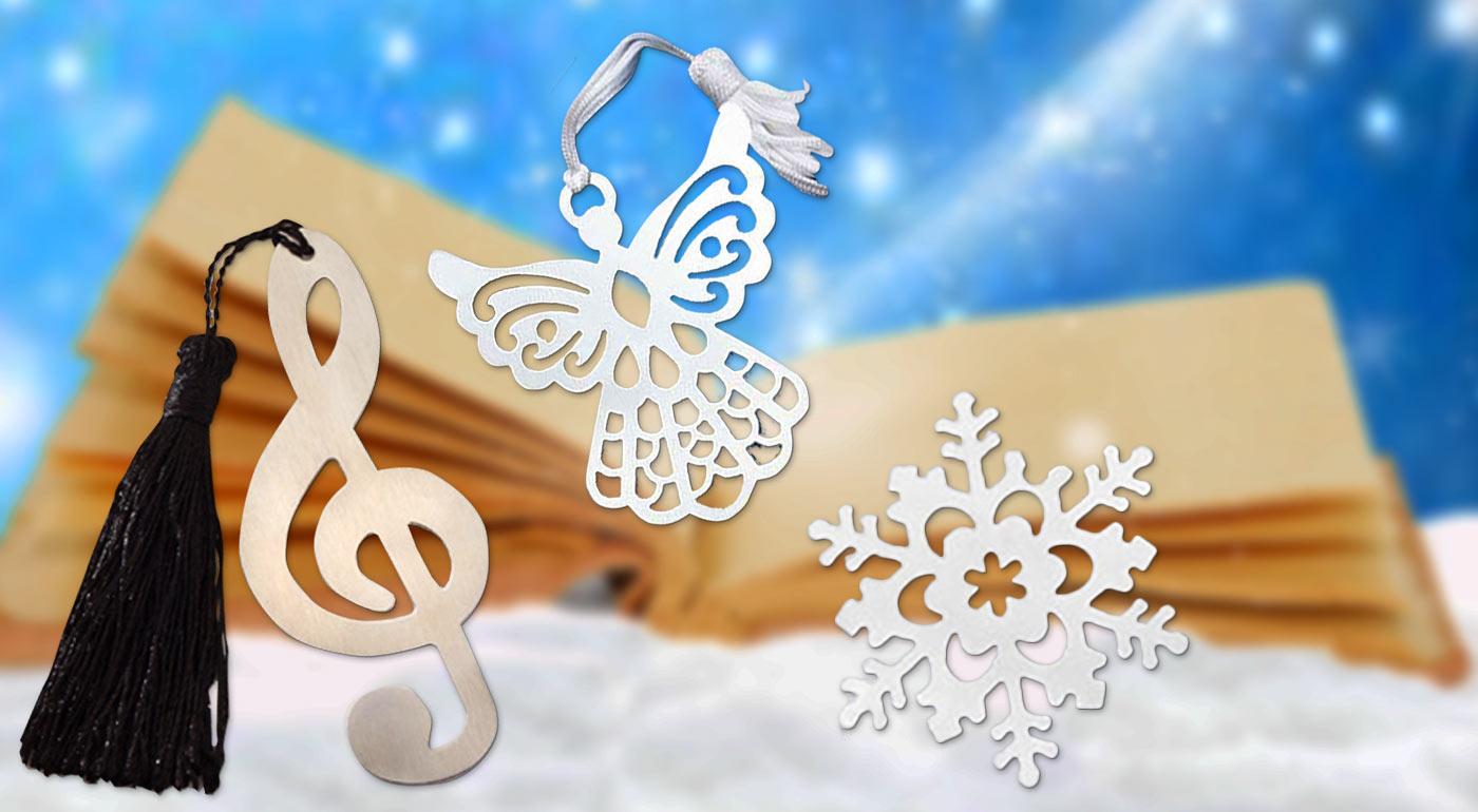 Krásne kovové záložky do knihy - vyberte si snehovú vločku, anjela či husľový kľúč
