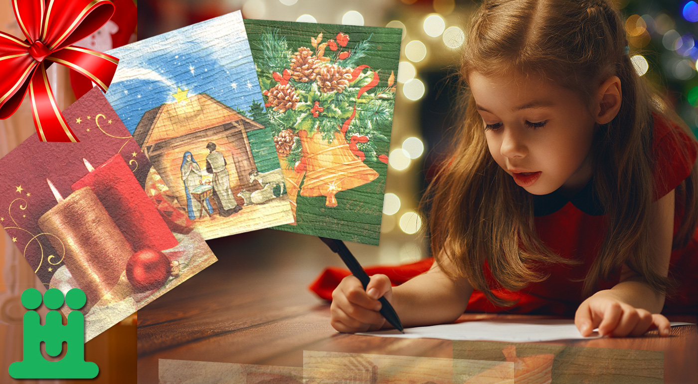 Vianočné a novoročné ručne vyrábané pozdravy od zdravotne postihnutých detí