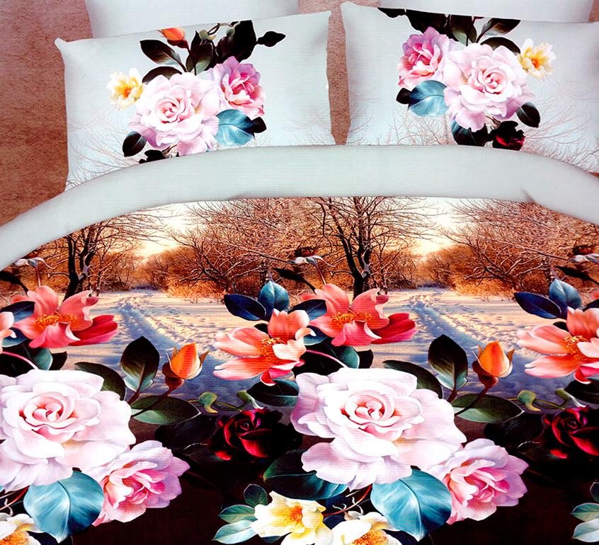3D posteľné obliečky na jednolôžko - Ruže na jeseň (obliečka na vankúš 70 x 90 cm a obliečka na paplón 140 x 200 cm)