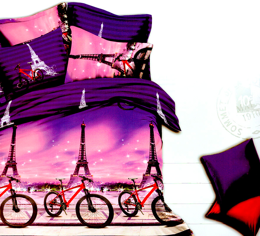 3D posteľné obliečky na jednolôžko - Pohoda v Paríži (obliečka na vankúš 70 x 90 cm a obliečka na paplón 140 x 200 cm)