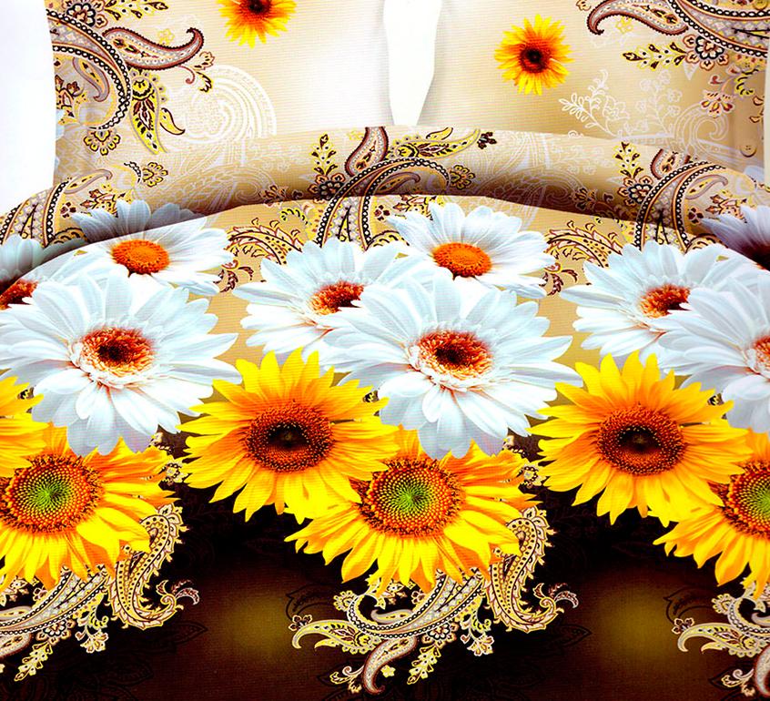 3D posteľné obliečky na jednolôžko - Margaréty a slnečnice (obliečka na vankúš 70 x 90 cm a obliečka na paplón 140 x 200 cm)