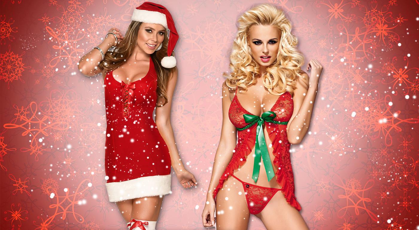 Sexy kostým Santa Lady alebo vianočná čipkovaná košieľka s tango nohavičkami pre dámy
