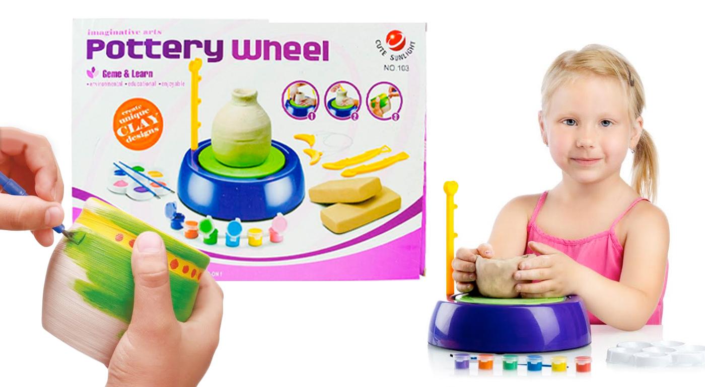 Detský hrnčiarsky kruh s modelovacou hmotou, farbičkami a príslušenstvom