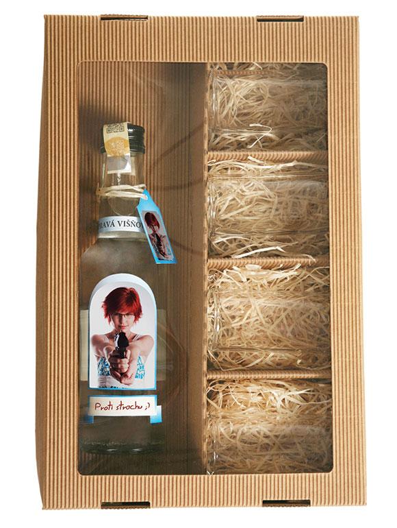 Višňovica s vlastnou fotografiou a prianím + 4 štamperlíky s vlastnou fotkou a prianím