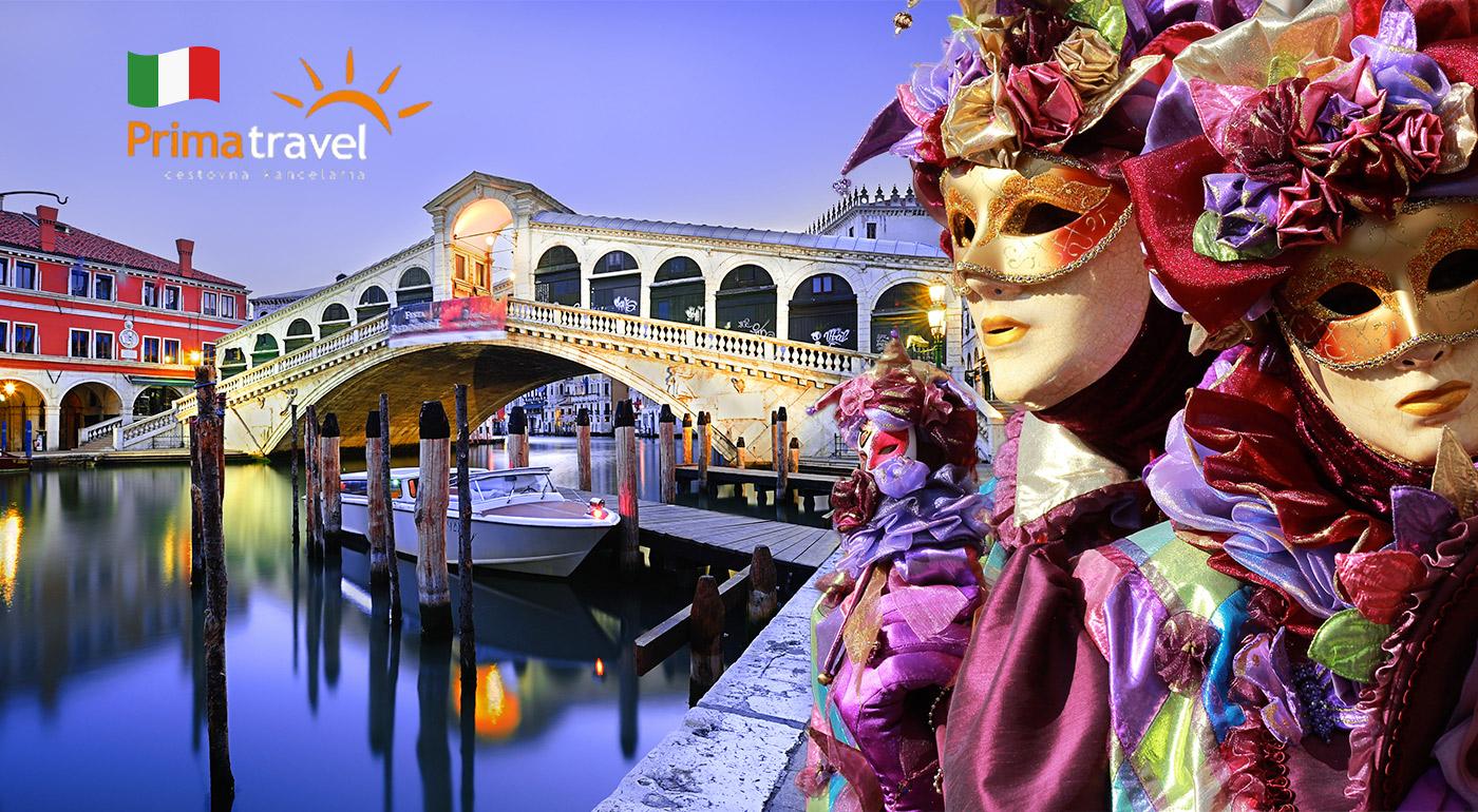 Benátsky karneval s možnosťou návštevy sklárskeho ostrova Murano