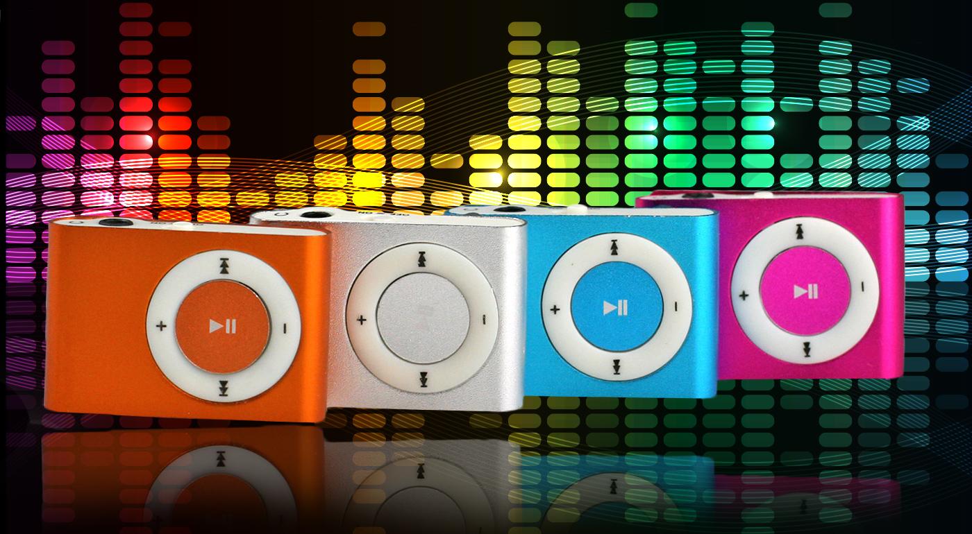 Fotka zľavy: Ľahký a kompaktný vreckový MP3 prehrávač s jednoduchým použitím a klipsňou na upevnenie len za 4,99 €. Na výber zo štyroch trendy farieb.