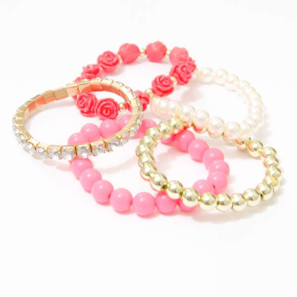 Perlový náramok s ružičkami - ružová farba