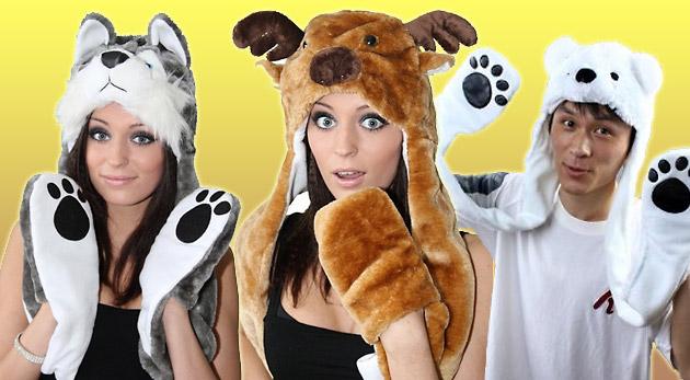 Originálne zimné zvieracie čiapky 3 v 1 - Ľadový medveď, Vlk alebo Sob. Ukážte svetu svoj štýl.