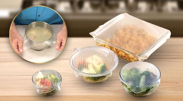 Čerstvá a plná chuť potravín vďaka silikónovým pokrievkam - balenie po 4 kusoch