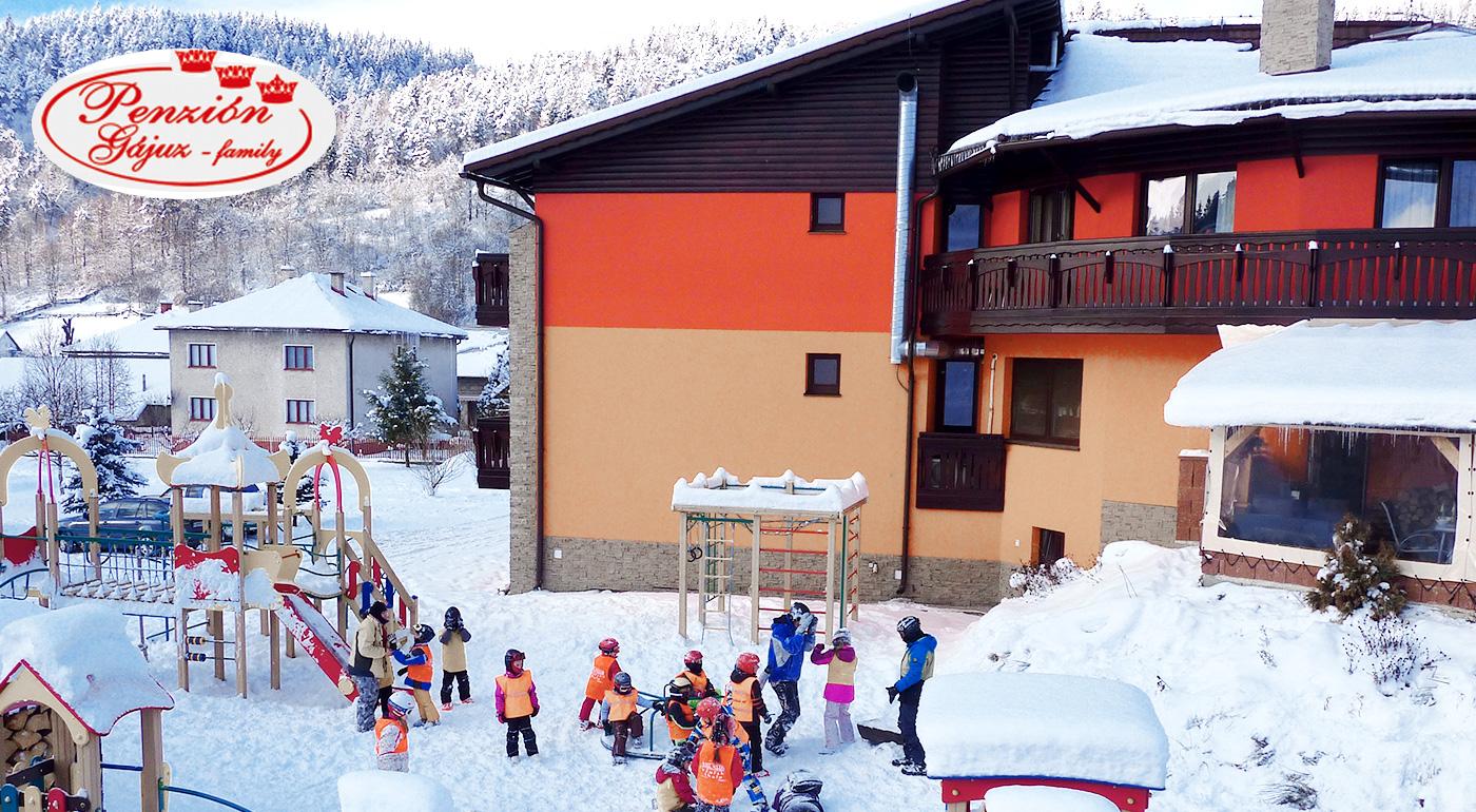 Penzión Gájuz na Kysuciach - zimná pohodička s celou rodinou s lyžovačkou priamo v areáli. Deti do 3 rokov zadarmo!
