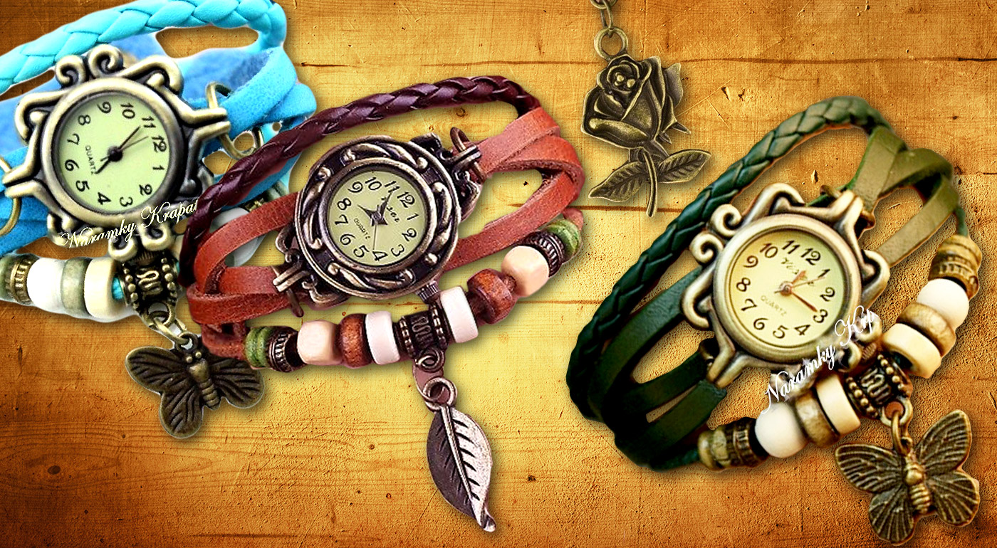 Dámske VINTAGE hodinky s príveskom a ozdobným ramienkom