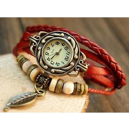 Retro hodinky s listom, farba červená