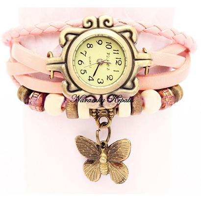 Retro hodinky s motýlikom, farba krémová
