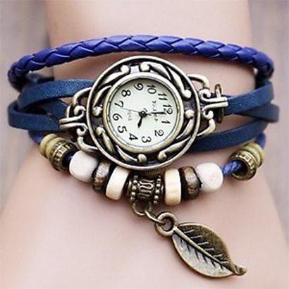 Retro hodinky s listom, farba modrá