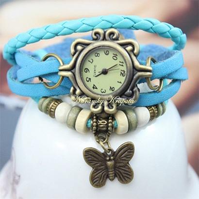 Retro hodinky s motýlikom, farba tyrkysová