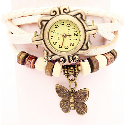 Retro hodinky s motýlikom, farba biela
