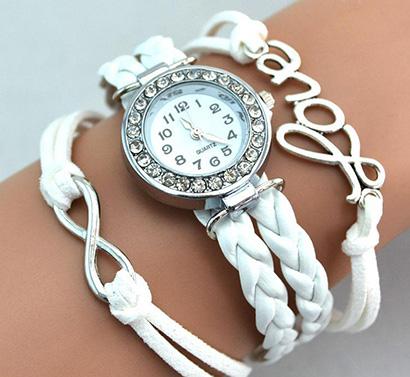 Infinity náramkové hodinky, biele Love