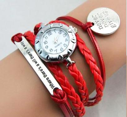 Infinity náramkové hodinky, červené Never give up