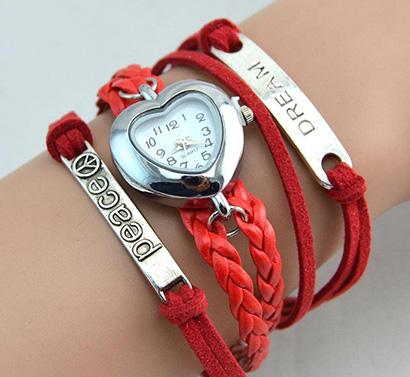 Infinity náramkové hodinky, červené Peace Dreams