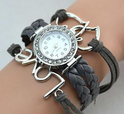 Infinity náramkové hodinky, čierne Love so srdiečkami
