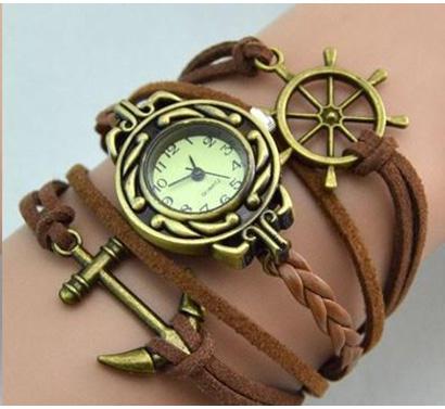 Infinity náramkové hodinky, hnedé s kotvou