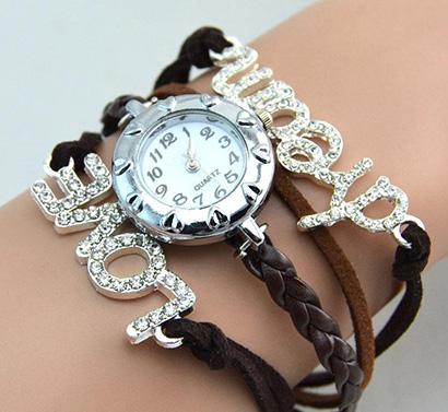 Infinity náramkové hodinky, hnedé s úzkymi remienkami Love Dream