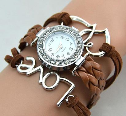 Infinity náramkové hodinky, hnedé Love so srdiečkami