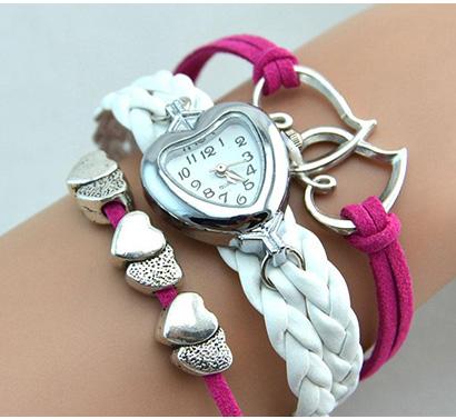 Infinity náramkové hodinky, ružové s dvojitým bielym remienkom