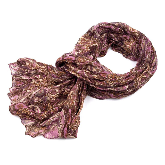 Šál krčený s lurexom - fialová