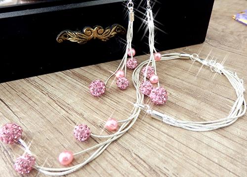 Set šperkov - visiace náušnice, náramok a náhrdelník, farba ružová