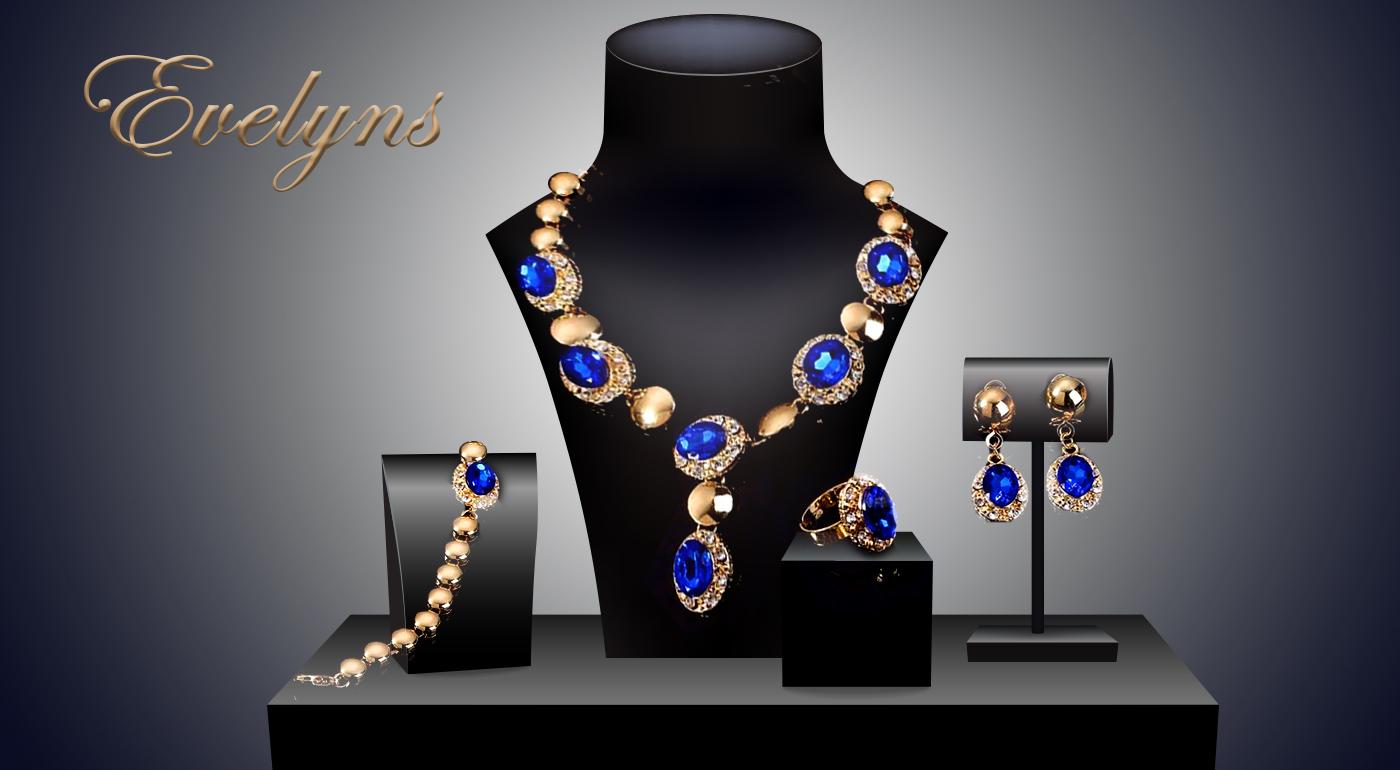 Set luxusných šperkov - náhrdelník, náušnice, náramok a prsteň v 4 kráľovských farbách
