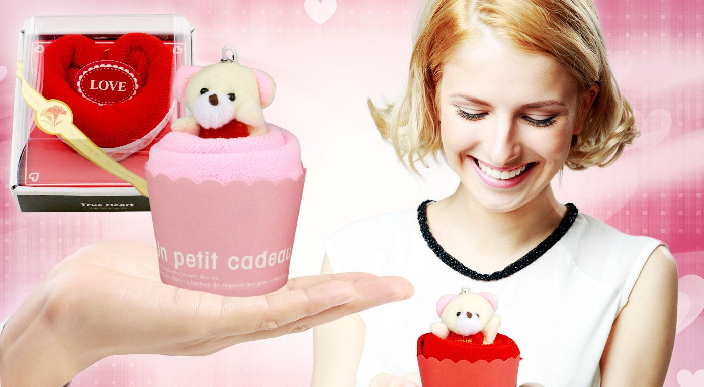 Romantický darček - hodvábne uteráčiky v tvare srdca alebo koláčika s príveskom macíka!