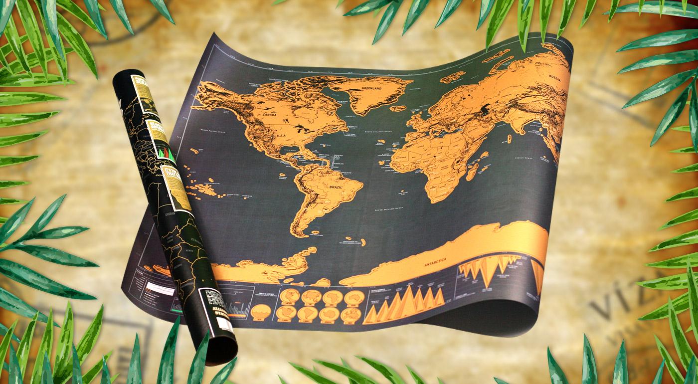 Cestovateľská stieracia mapa sveta - označte si precestované alebo vysnívané krajiny!