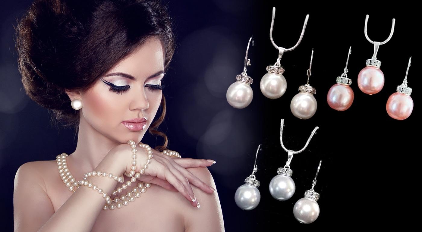 SWAROVSKI perlový set - strieborný prívesok a náušnice