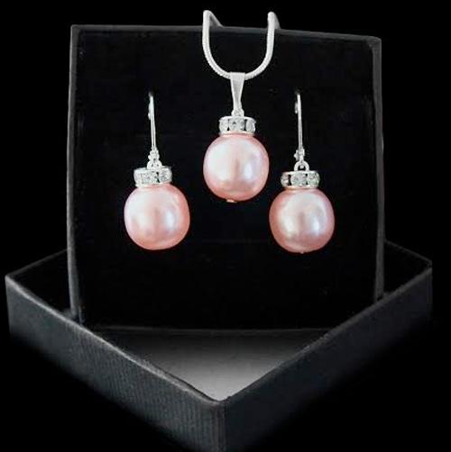 Set šperkov - prívesok a náušnice v striebornej verzii - ROSE