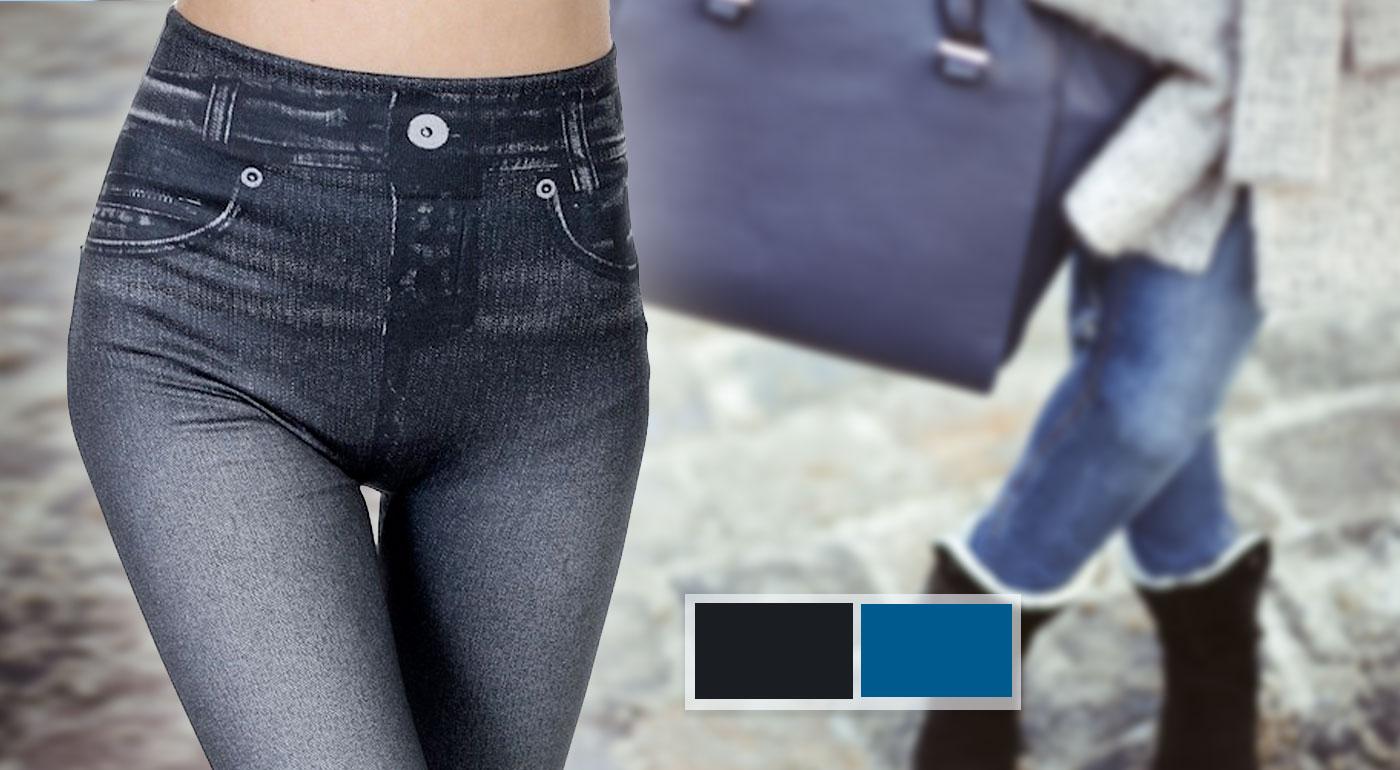 Teplé dámske džínsové legíny s fleecovou podšívkou