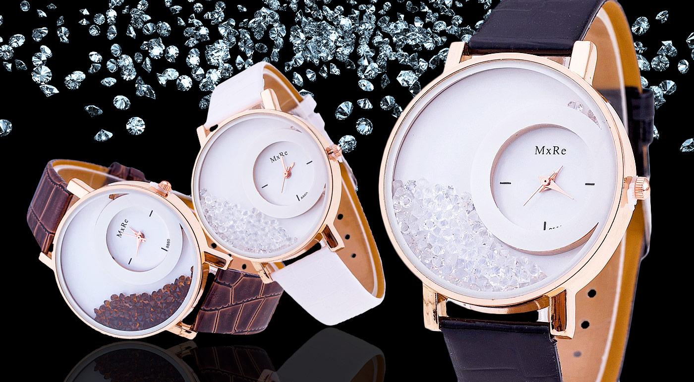 Luxusné dámske hodinky s presýpacími kryštálikmi 7175e0b9875
