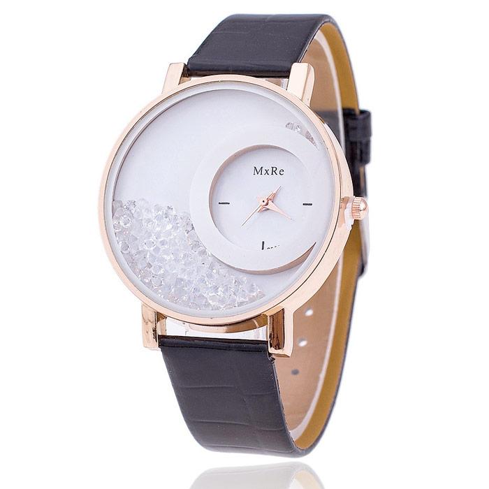 Originálne dámske hodinky s presýpacími kryštálmi - čierne 5e4b3d92f5f