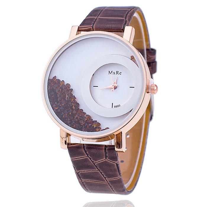 Originálne dámske hodinky s presýpacími kryštálmi - hnedé
