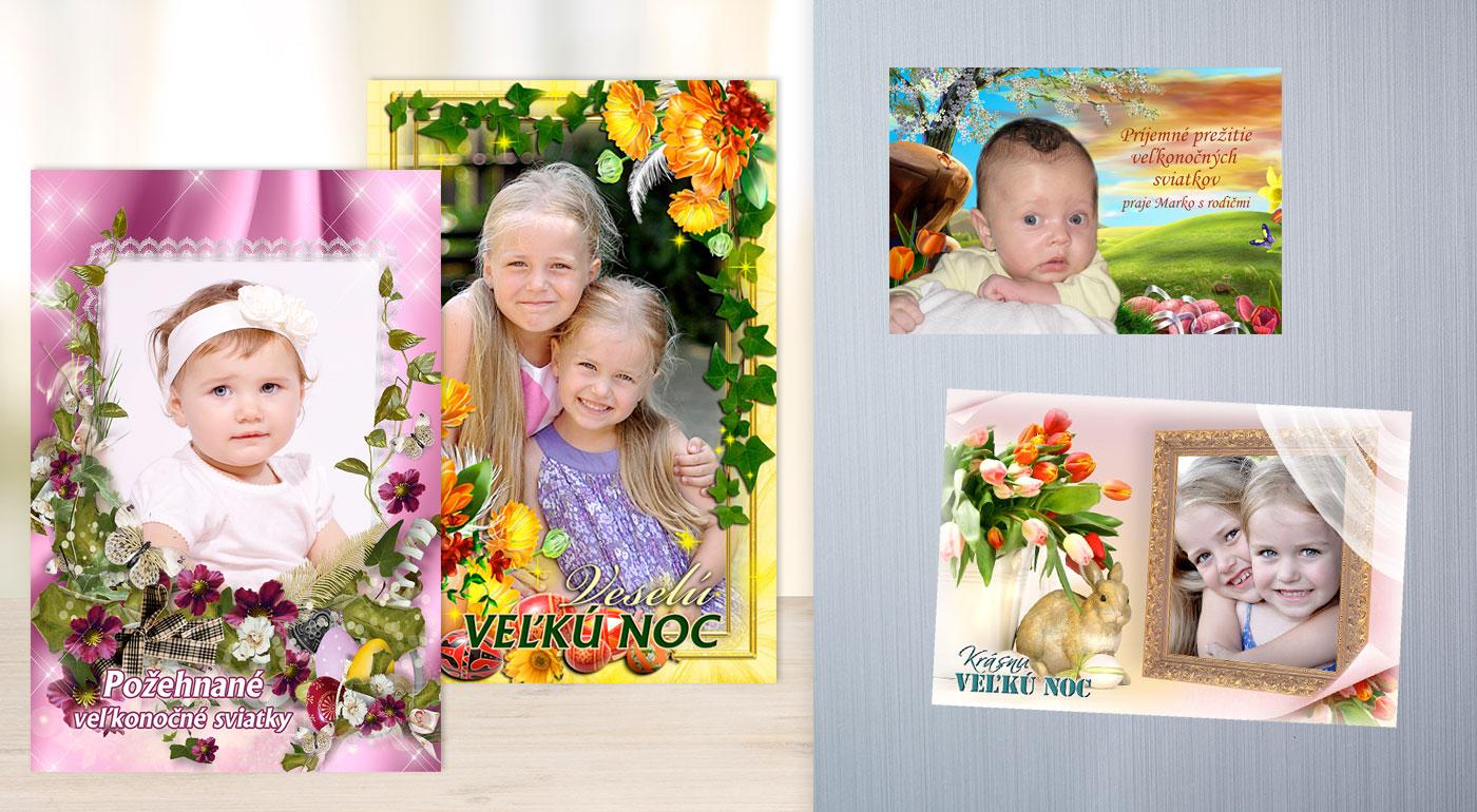 Veľkonočné pohľadnice, magnetky alebo pozdravy s vlastnou fotografiou