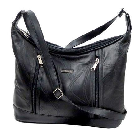 B1. Dámska kožená kabelka GUIDO BANINI - čierna