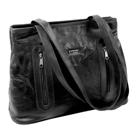 C1. Dámska kožená kabelka GUIDO BANINI - čierna