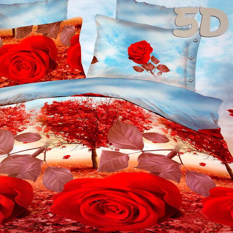 3D posteľné obliečky na jednolôžko -  Ruže (obliečka na vankúš 70 x 90 cm a obliečka na paplón 140 x 200 cm)