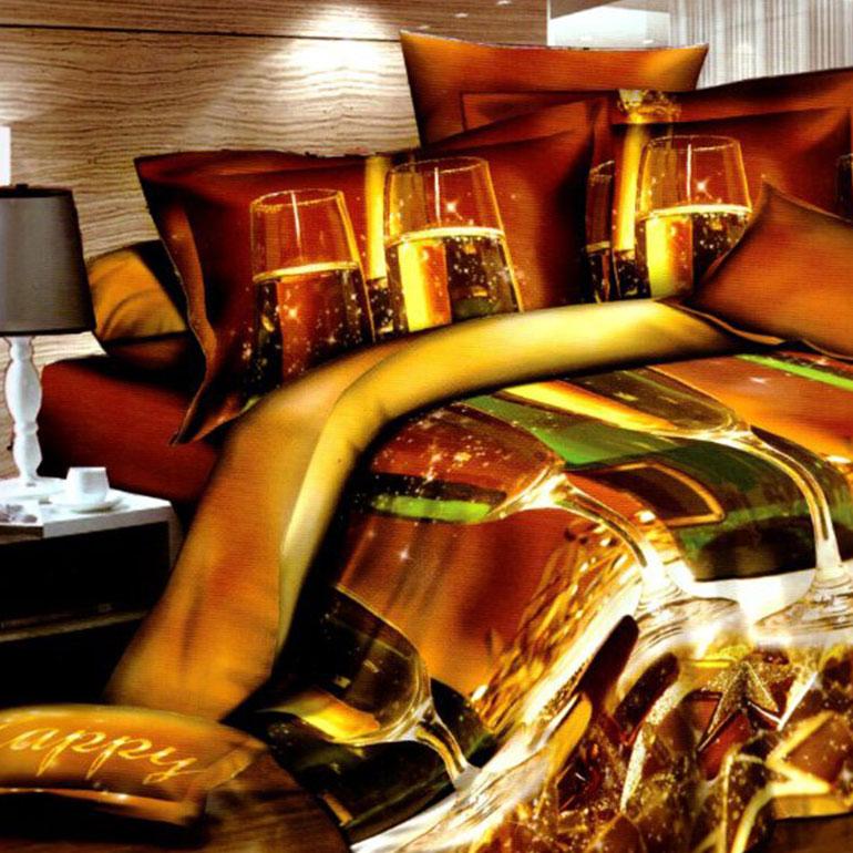 3D posteľné obliečky na jednolôžko -  Poháre so šampanským (obliečka na vankúš 70 x 90 cm a obliečka na paplón 140 x 200 cm)