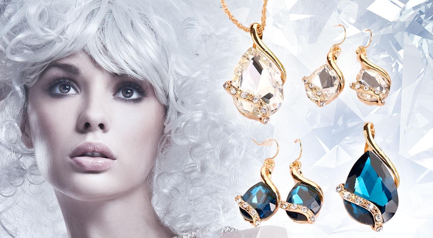 Luxusný set šperkov Tia - zlatý prívesok a náušnice zdobené českými kryštálmi
