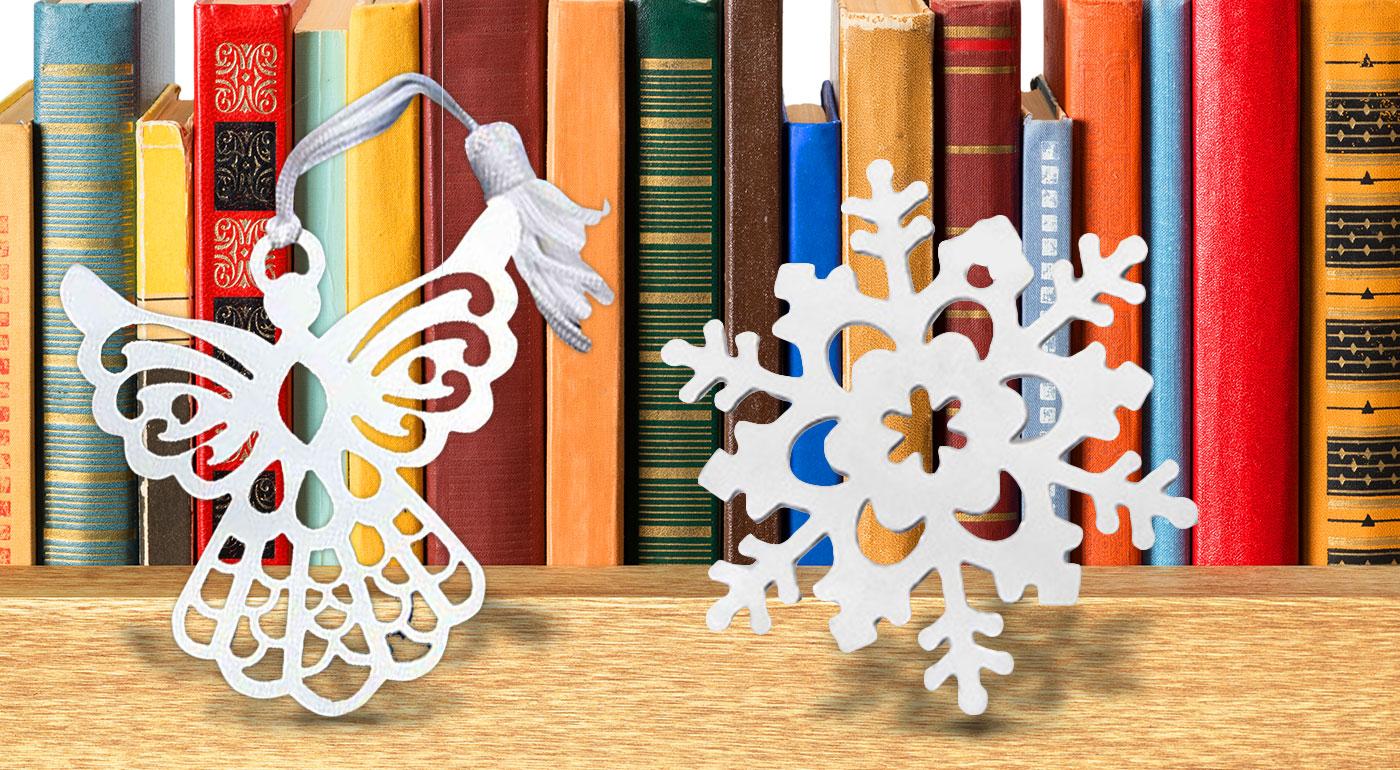 Krásne štýlové záložky do knihy v darčekovom balení - anjel a snehová vločka