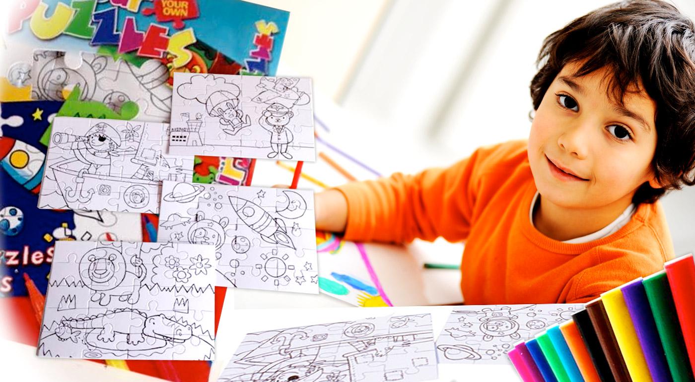 Hravé detské puzzle na vyfarbenie - set 4 hlavolamov na vyfarbenie s 12 fixkami