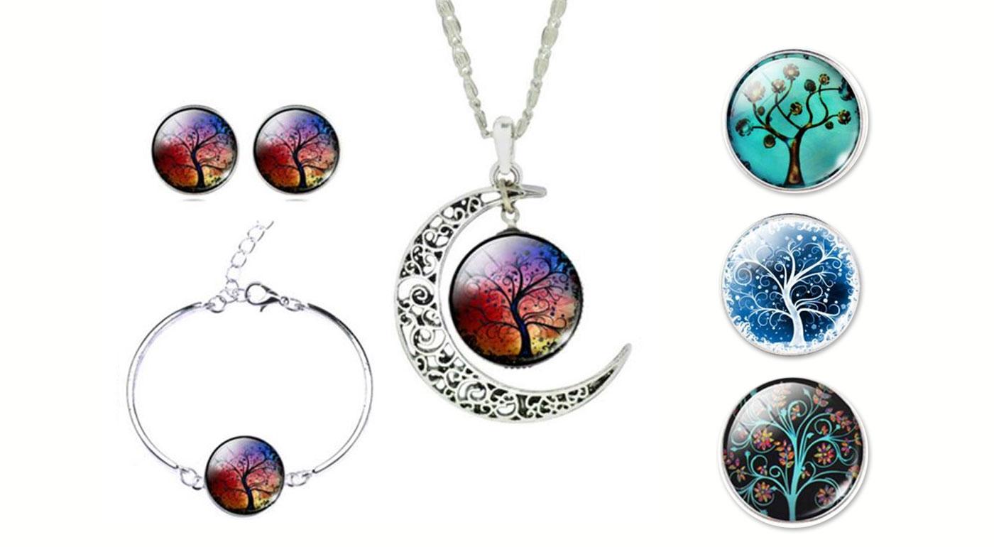 Magický set šperkov zo skla a kovu s motívom stromu a mesiaca