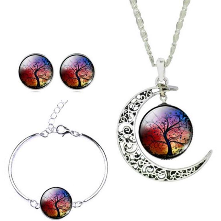3-dielny set šperkov Strom života dúhový (prívesok, náušnice, náramok)